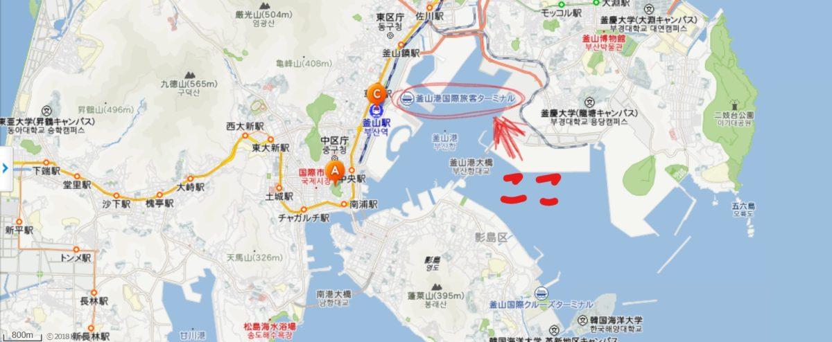 釜山港の地図