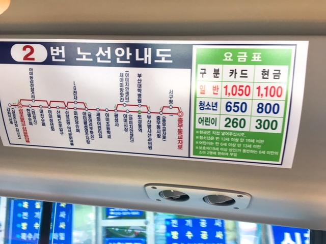 釜山のバス料金